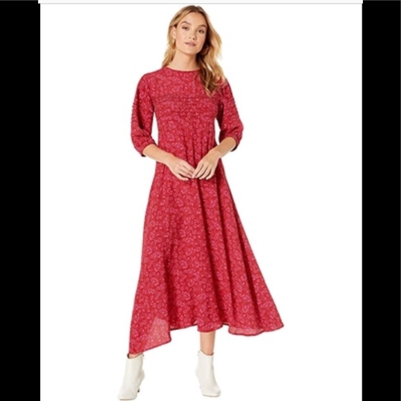 Free People Holiday Christmas Red prairie dress